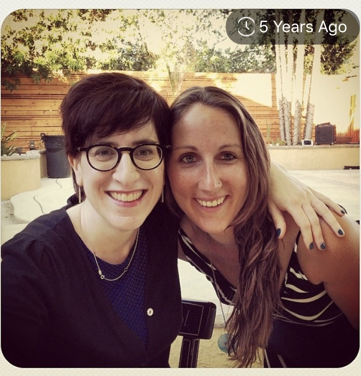 This was taken AT an event my friends hosted on my behalf after my surgery, around the time I started chemo. I can't believe it's been 5 years! This is my friend Erin who saw me through some rough times! Look how much hair I had on the top of my head! I can't grow bangs anymore.
