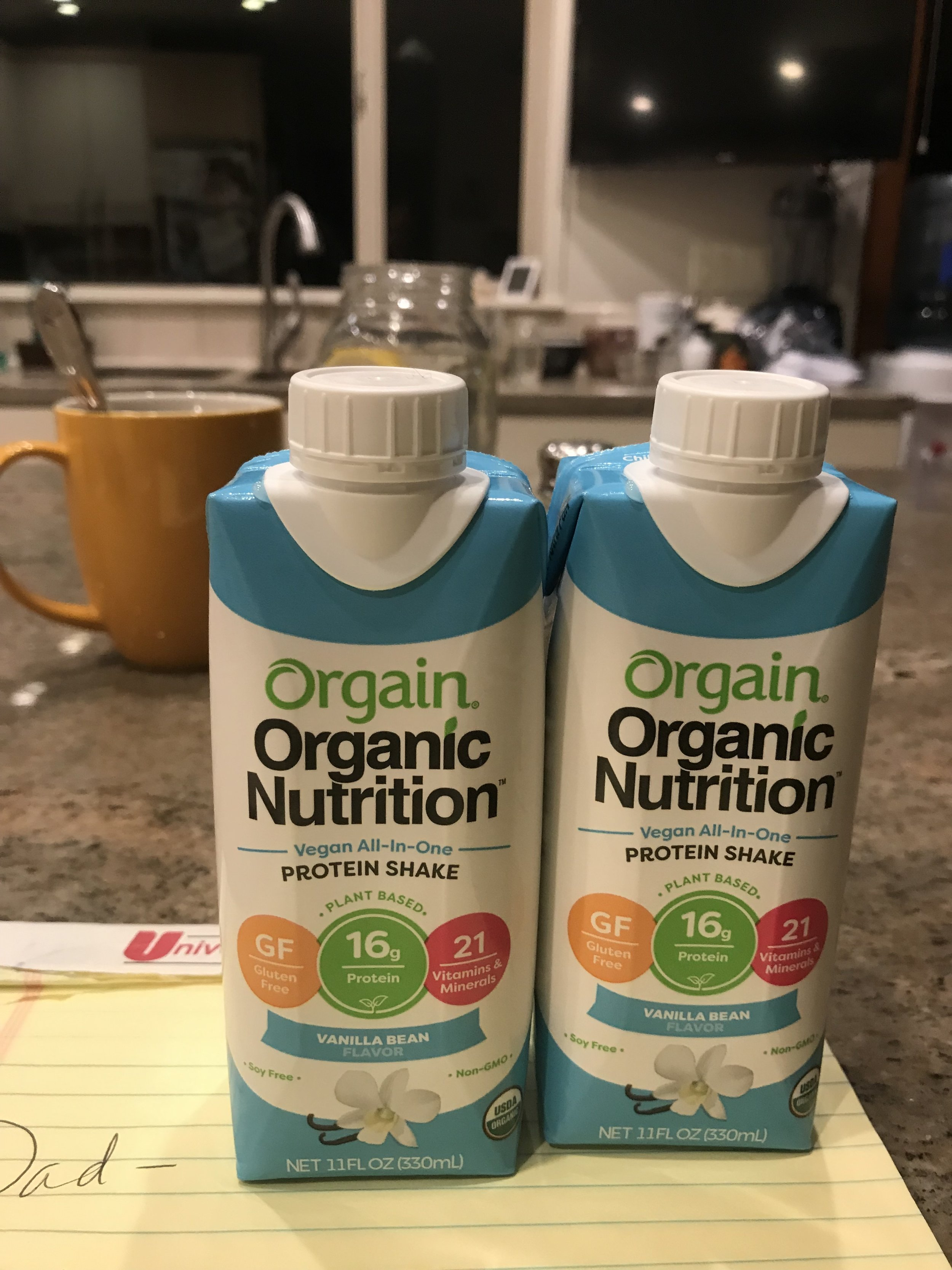 I'm so out of it that I ordered the little travel size of these protein drinks on Amazon when I really wanted the large 32 ox drinks. I'm so spatially impaired that I still didn't realize it when the boxes arrived! I ripped into them and then realized my mistake. I'm hoping my dad will drink them, but trying to get him to do any new foods has been an uphill battle. Sigh….