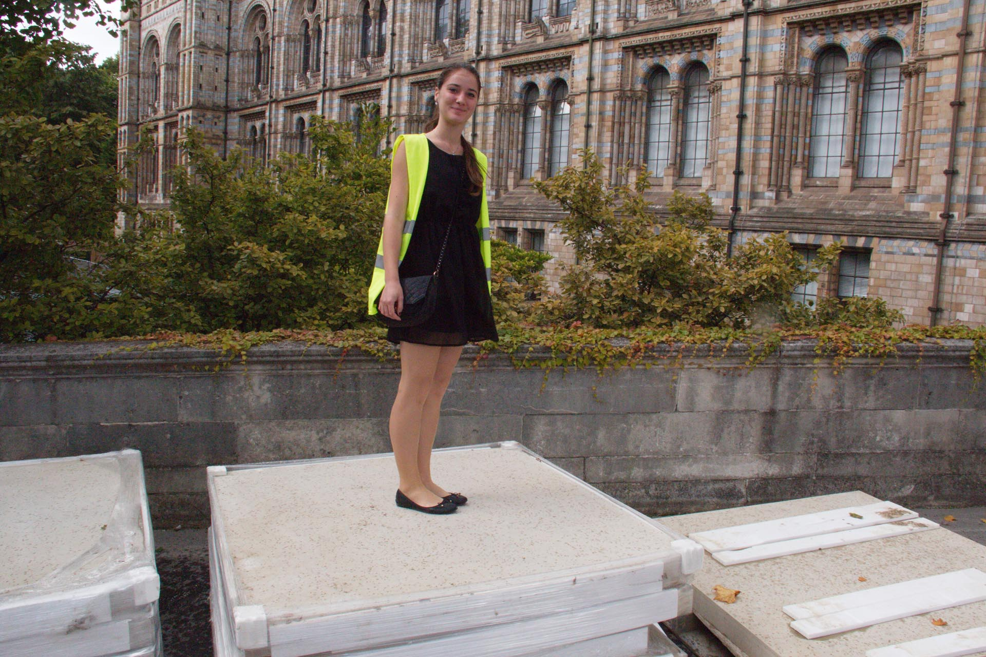 Pavla on the huge York stone slabs soon to grace the museum entrance