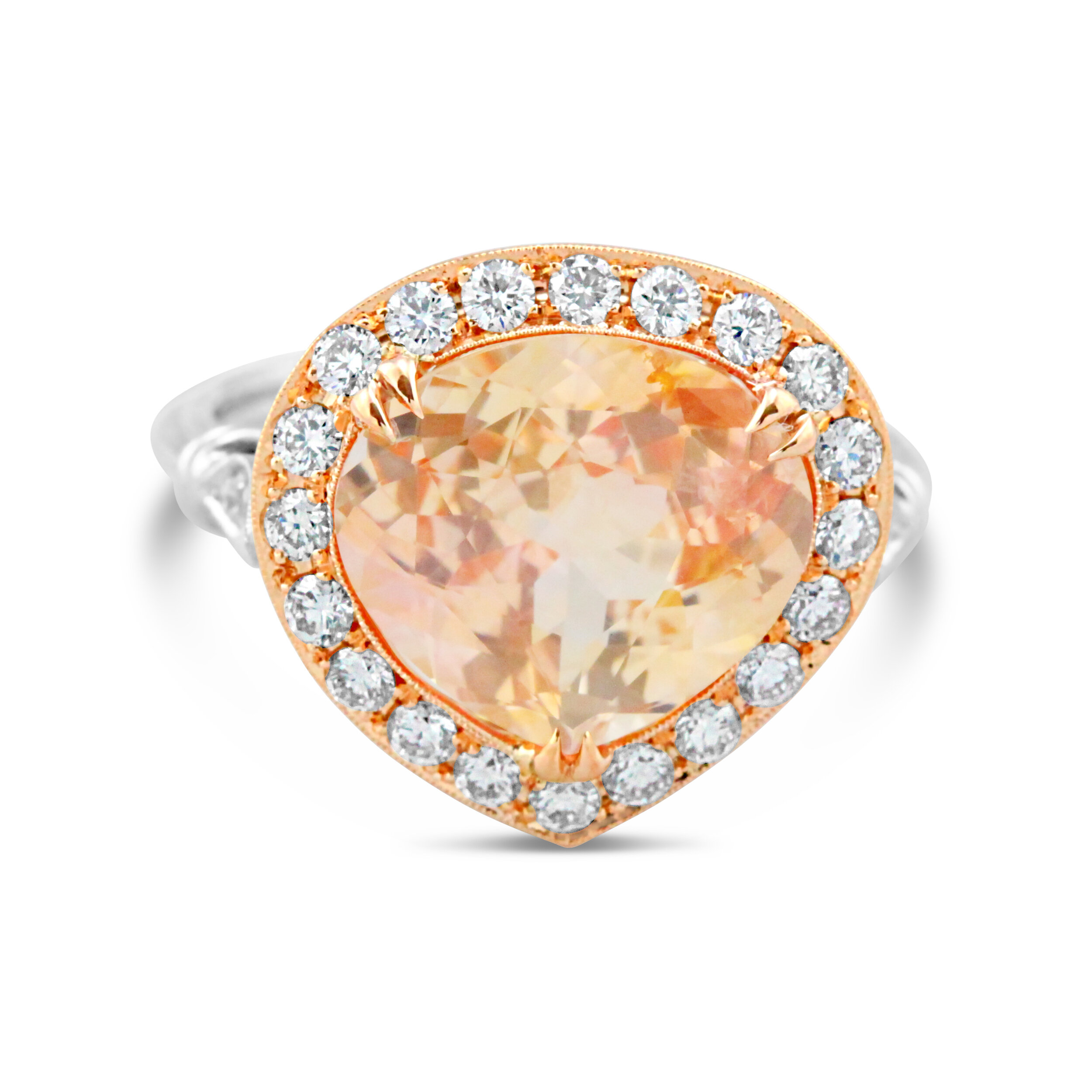 This 5 ct unheated padparadscha has been positively tested for color stability by Lotus Gemology, Bangkok.