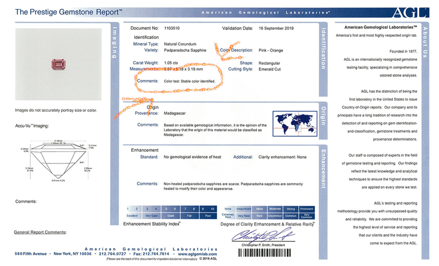 """AGL report for our 1.05 ct Madagascar padparadscha. Please note AGL's comment """"stable color identified"""" – when shopping for padparadscha, make sure this is what you get (and pay only very little for a non-stable pad-like sapphire)."""