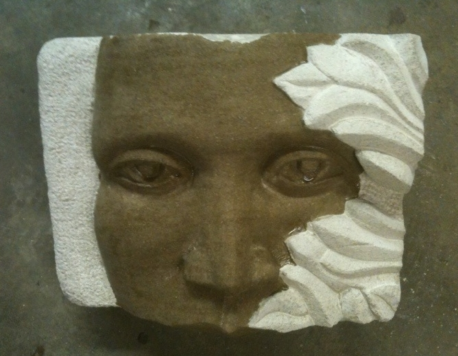 """""""Growth""""is the first face I ever carved. Not bad, but needed some work You can see I avoided the mouth!."""