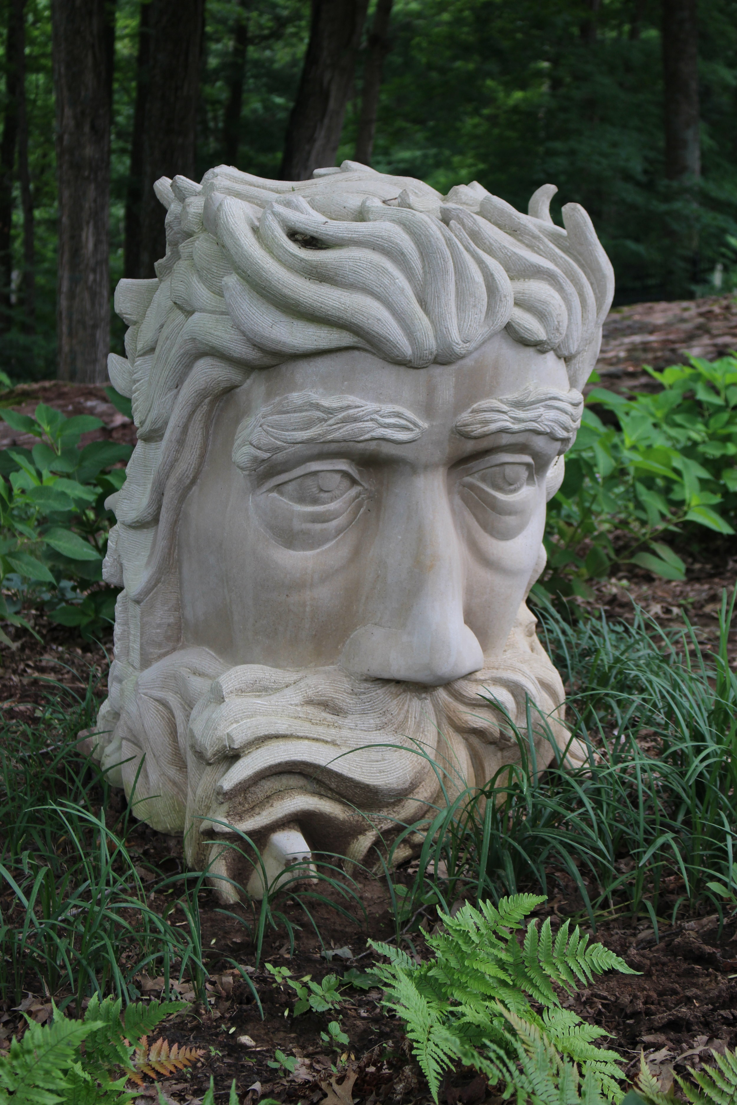 """""""Francis"""" was the fifth face I had carved. The face is much rounder and truer than previous attempts. I am still avoiding the mouth at this point."""