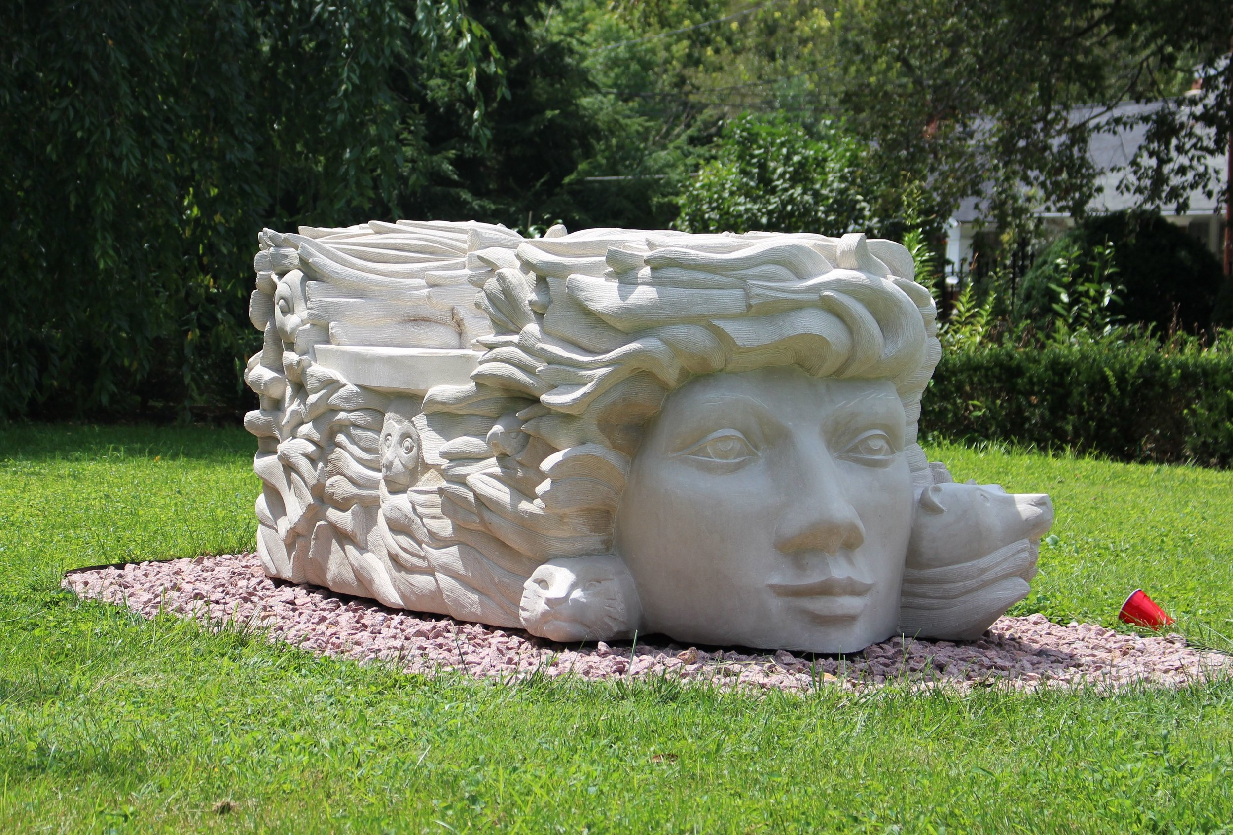 """""""Zephyr and Flora"""" were the sixth and seventh faces I carved. Again, much rounder and finally attempted a mouth. With Flora, I finally started to feel like I was getting it."""