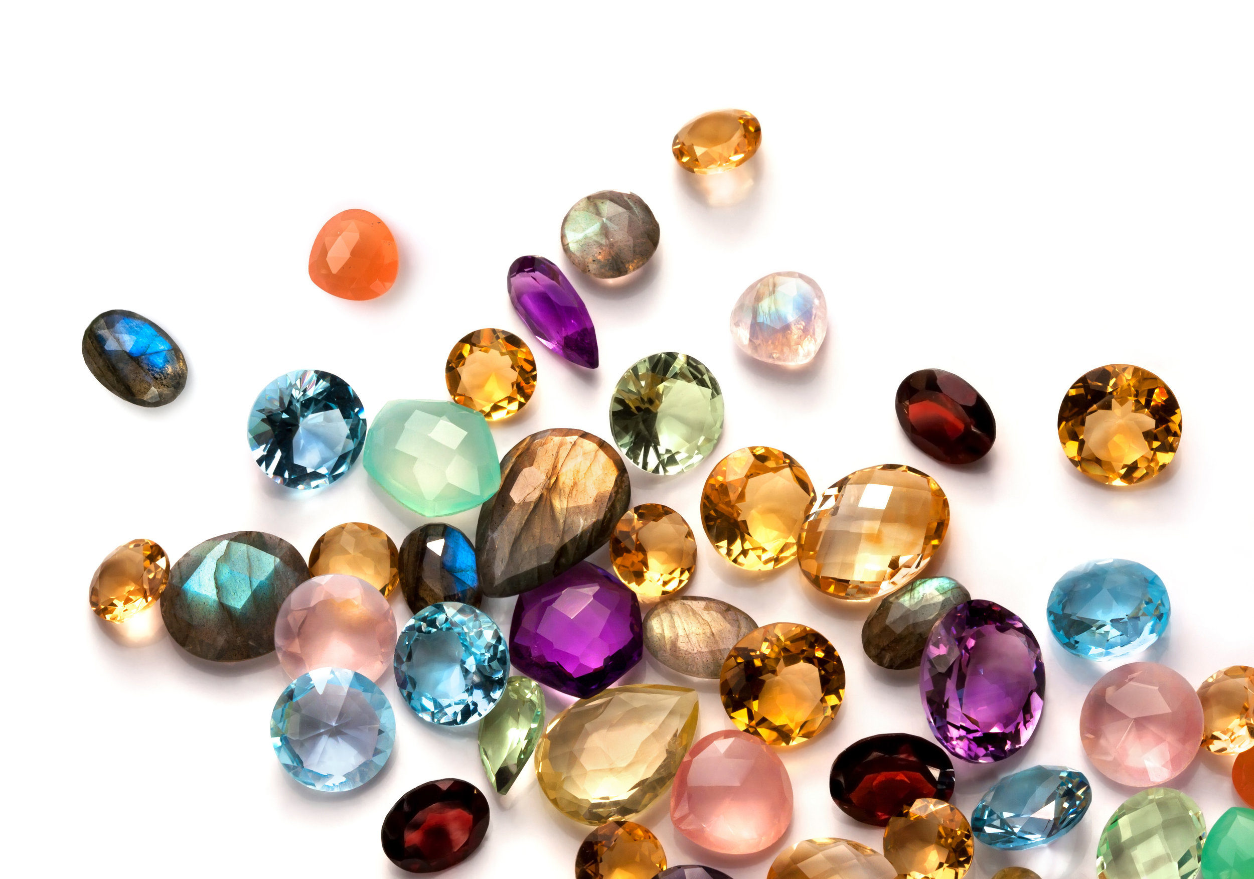 Some of the gemstones that we feature in our jewelry are Amethyst, Aquamarine, Citrine, Emerald, Garnet, Morganite, Opal, Peridot, Ruby, Sapphire, Tanzanite, Topaz, Tourmaline, Turquoise.