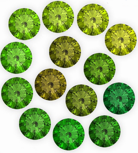 The different green variations of Peridot.