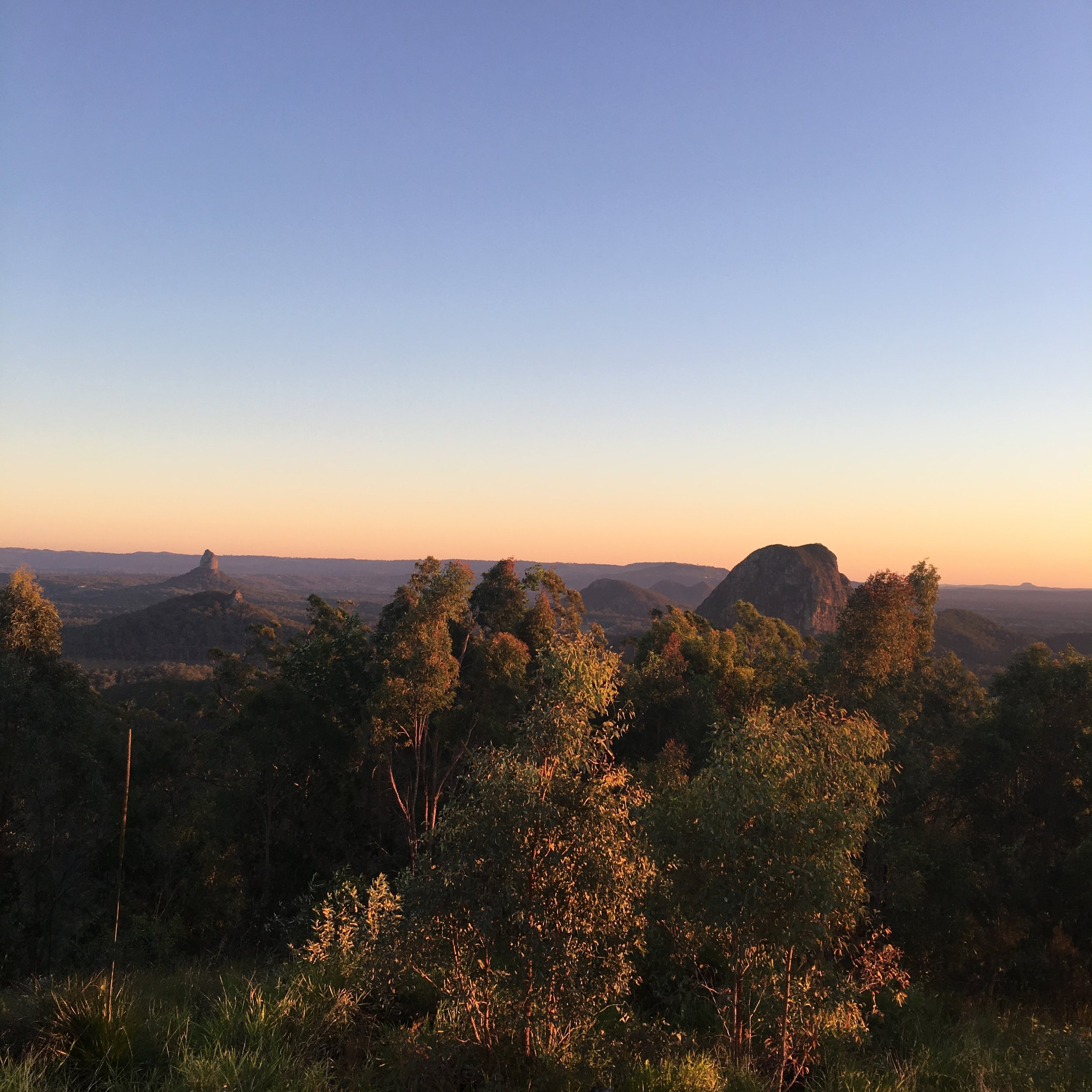 The view of the Glasshouse Mountains