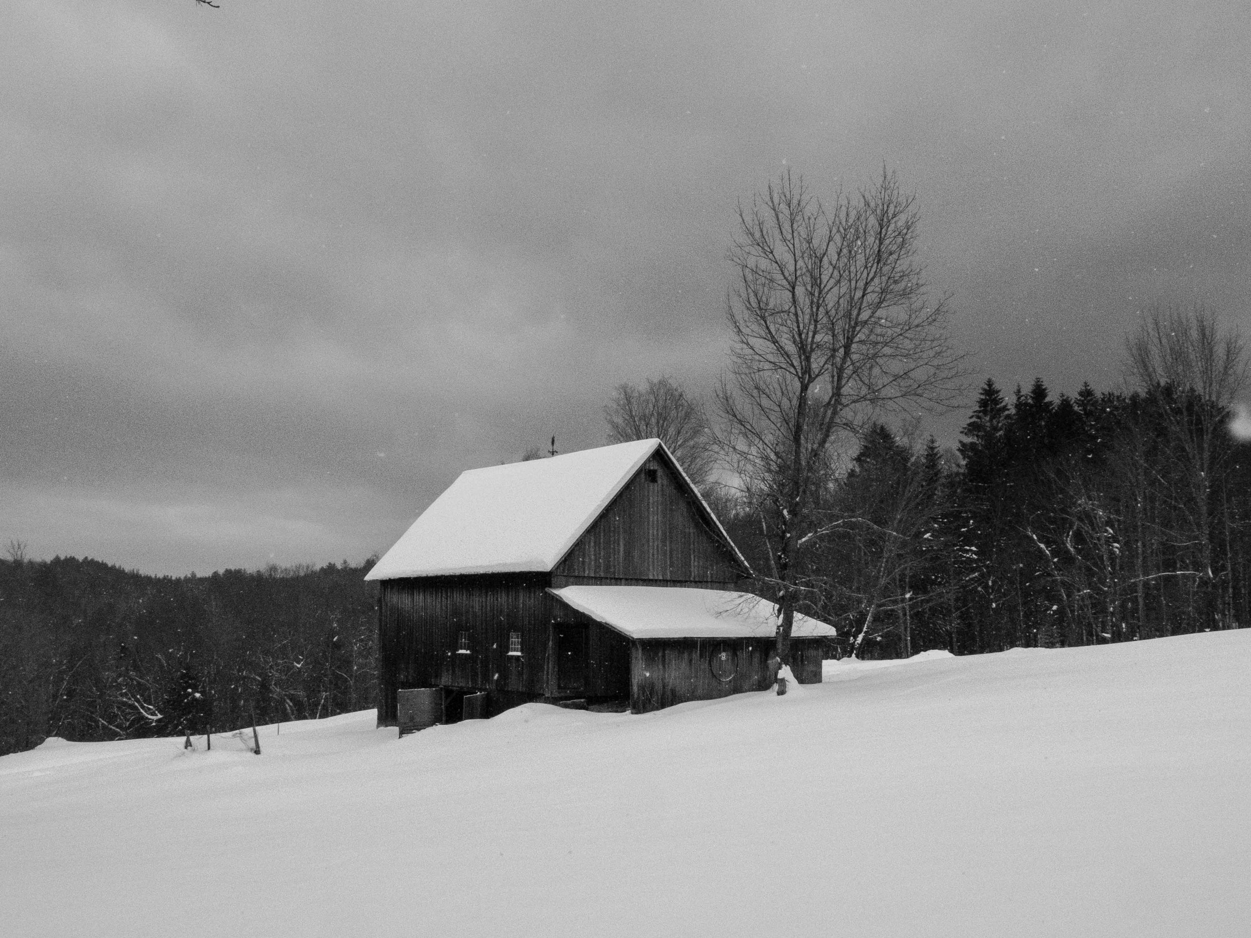 Just after this barn, you drop down into the woods and head Southeastish.