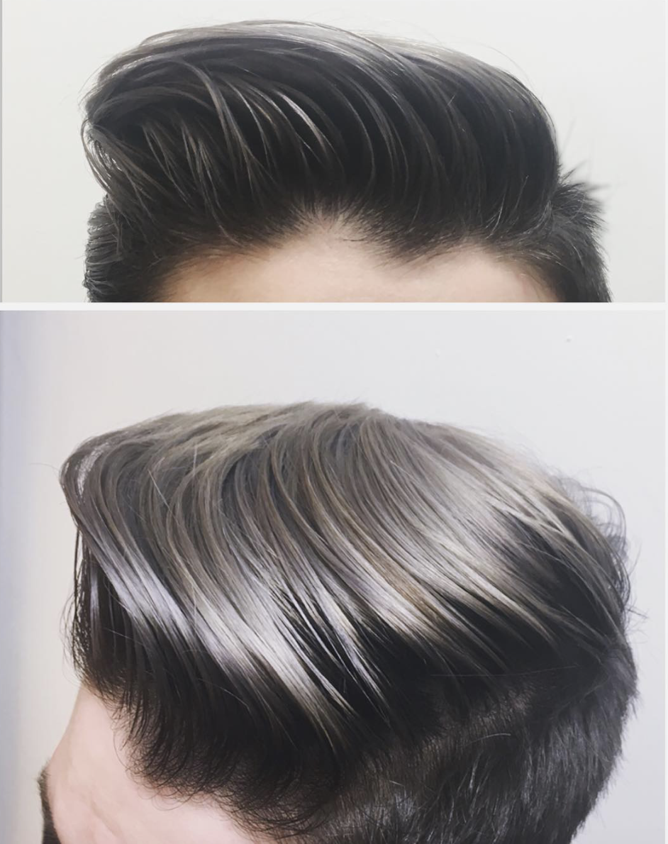 SILVER!!! - We lighted his hair with Redken Blondor decolorizer and toned with Redken Shades EQ!