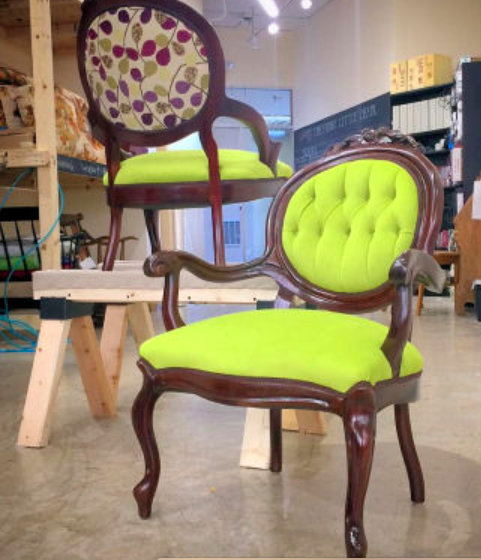 This pair of tufted chairs left looking fabulous after a bold fabric update. Heirloom furniture needn't be boring or bland!