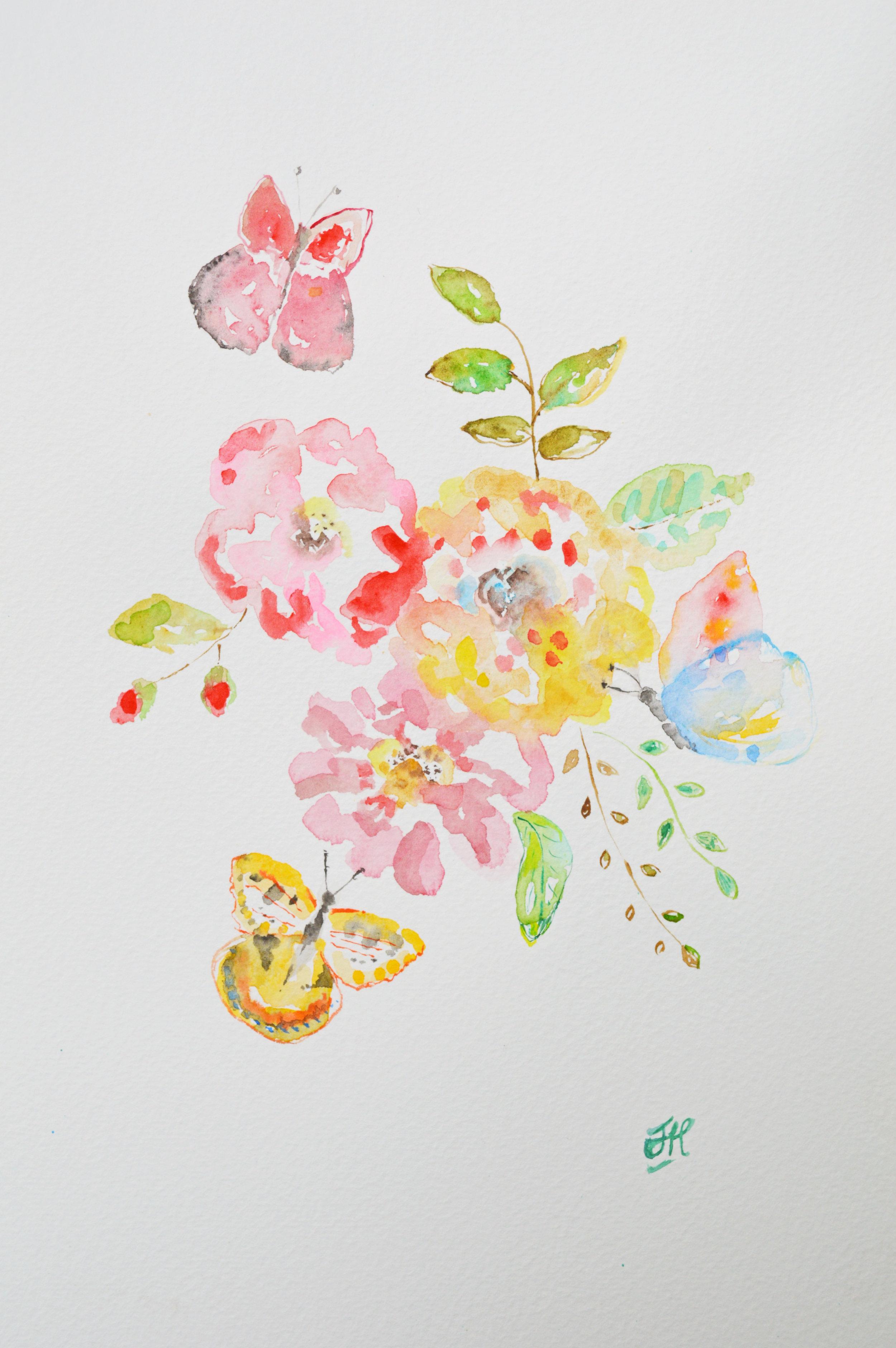 Butterflies and Roses - original watercolour