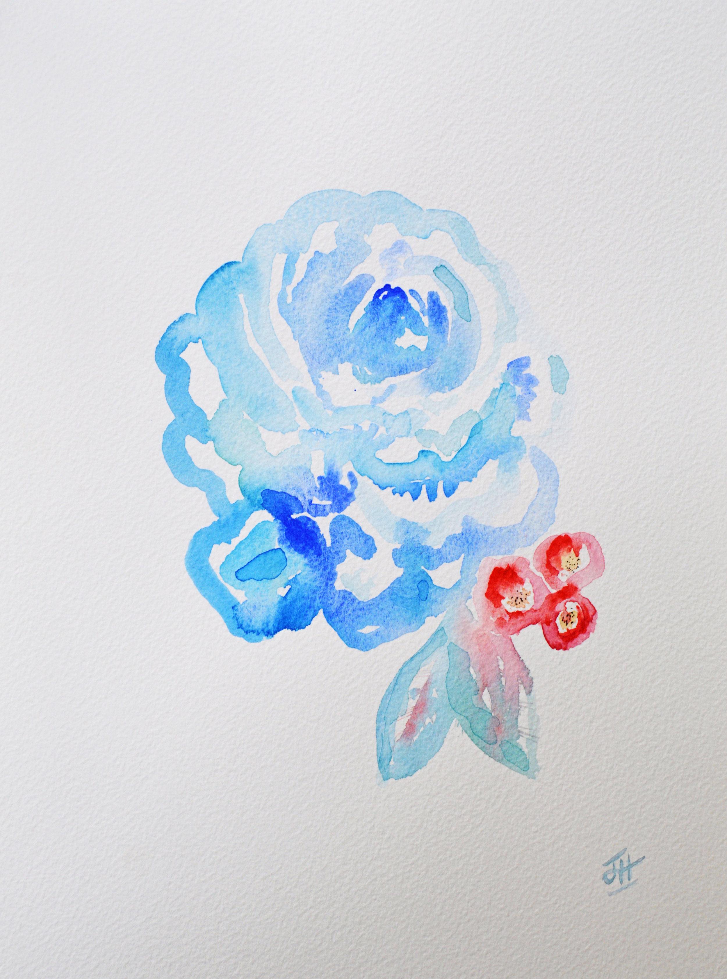 Blue Rose - original watercolour