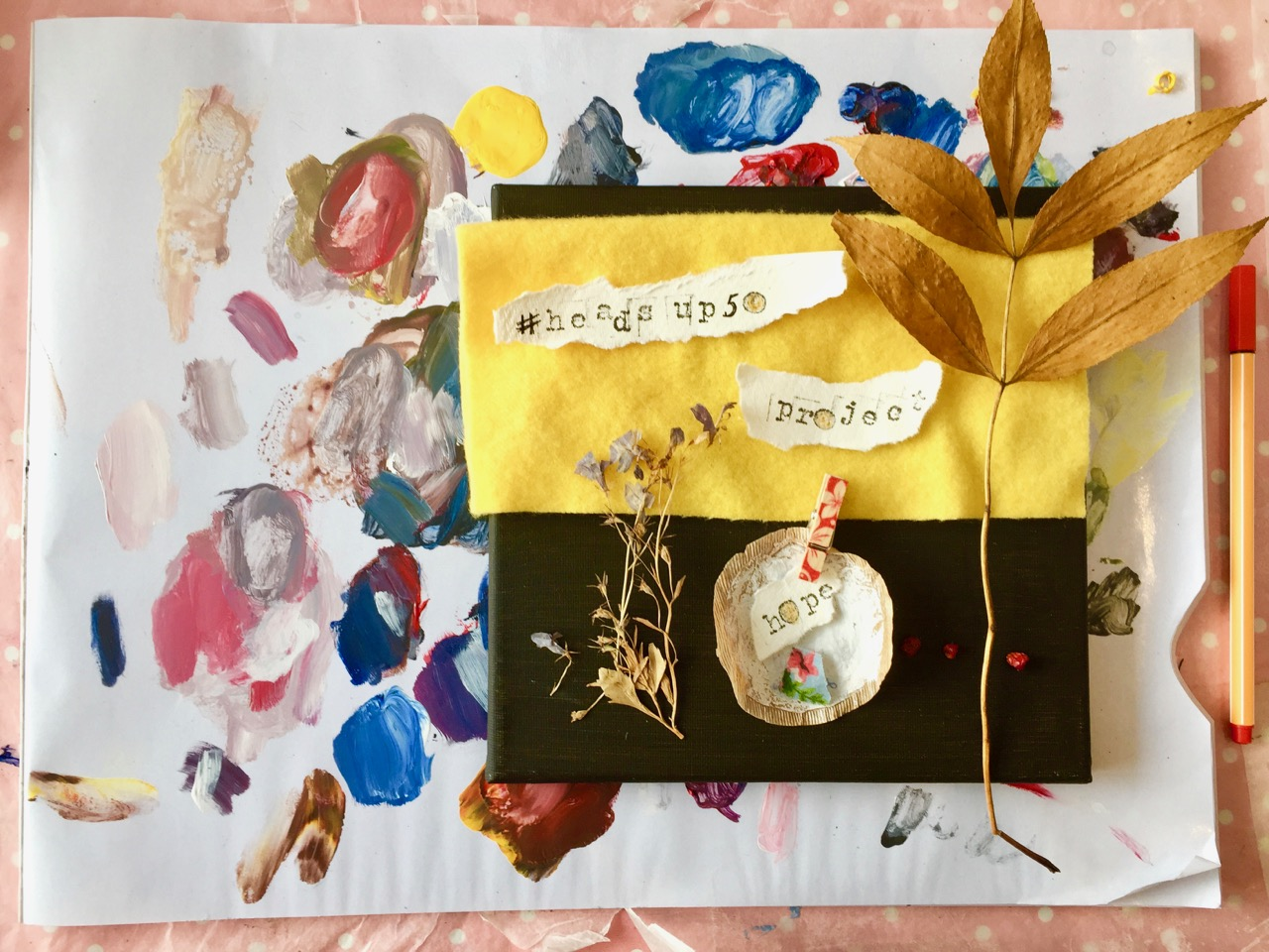 Headsup Mixed Media Collage Exploring Mental Health Wellbeing Using Art Jane Hinchliffe Squarespace Website Design Uk