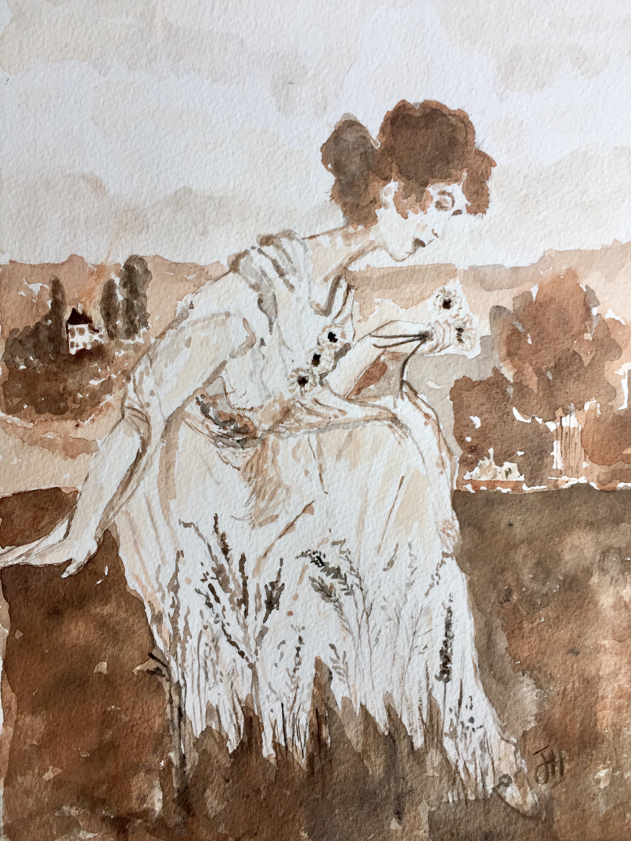 Project 1 - Monochromatic Watercolour Painting - Create a charming watercolour using a monochromatic colour scheme. Learn what a monochromatic scheme is and how to achieve this beautiful effect that is reminiscent of an old sepia photo, with just one colour.