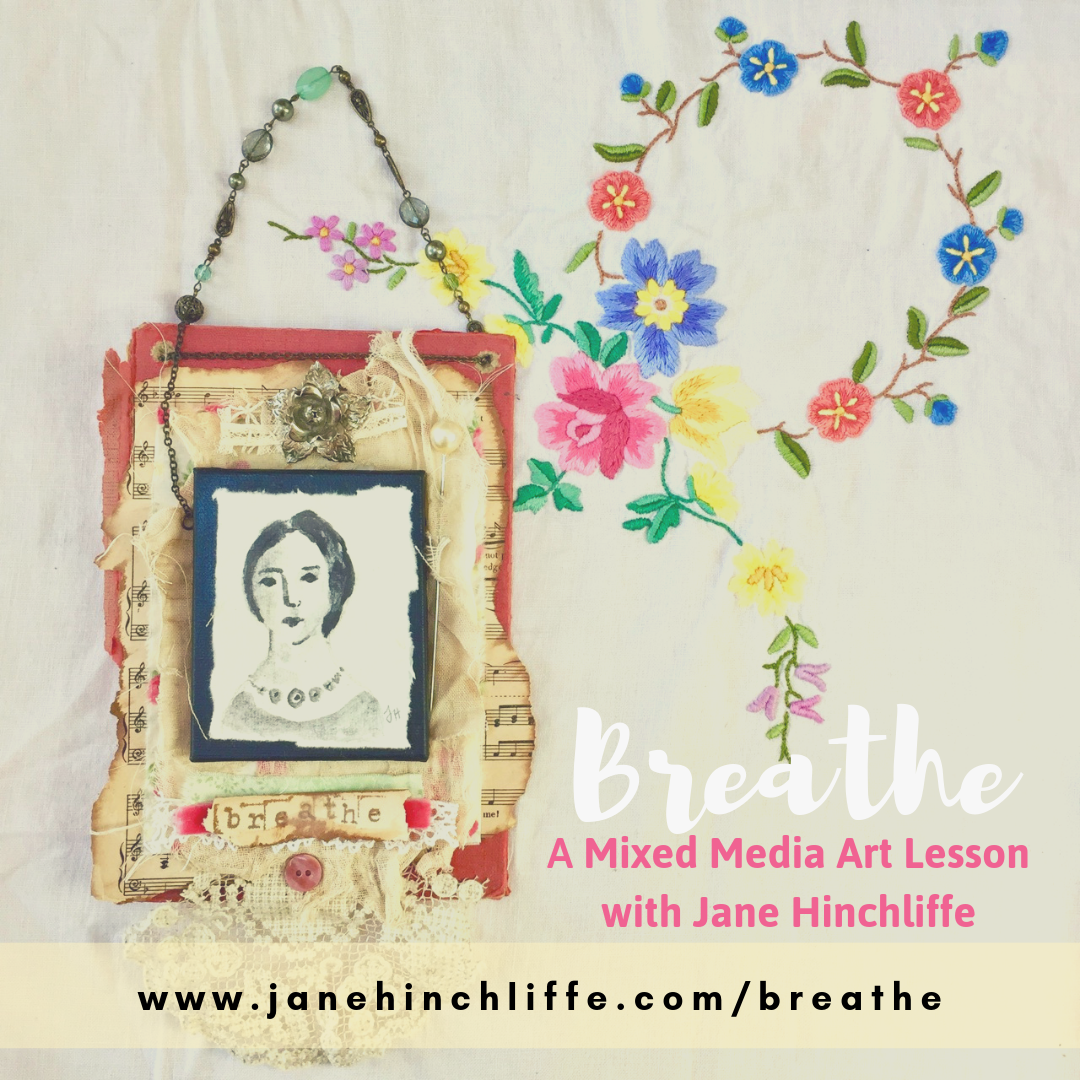 Breathe - Mixed Media Art Lesson - Let me show you how to create your own miniature portrait on an old book cover and enjoy adding meaningful layers to create a piece that would look beautiful in your home or perhaps given as a gift to a loved one.Within this lesson, learn how to bring your 'lost treasures' to life with forgotten jewellery, pieces of lace, broaches, buttons etc. and then combine them with a vintage feel hand painted portrait - reminiscent of miniature portraits from the Victorian period.This lesson has originally been shared as part of my year-long class called The Art Of Contentment. If you're interested in the full class, go here.