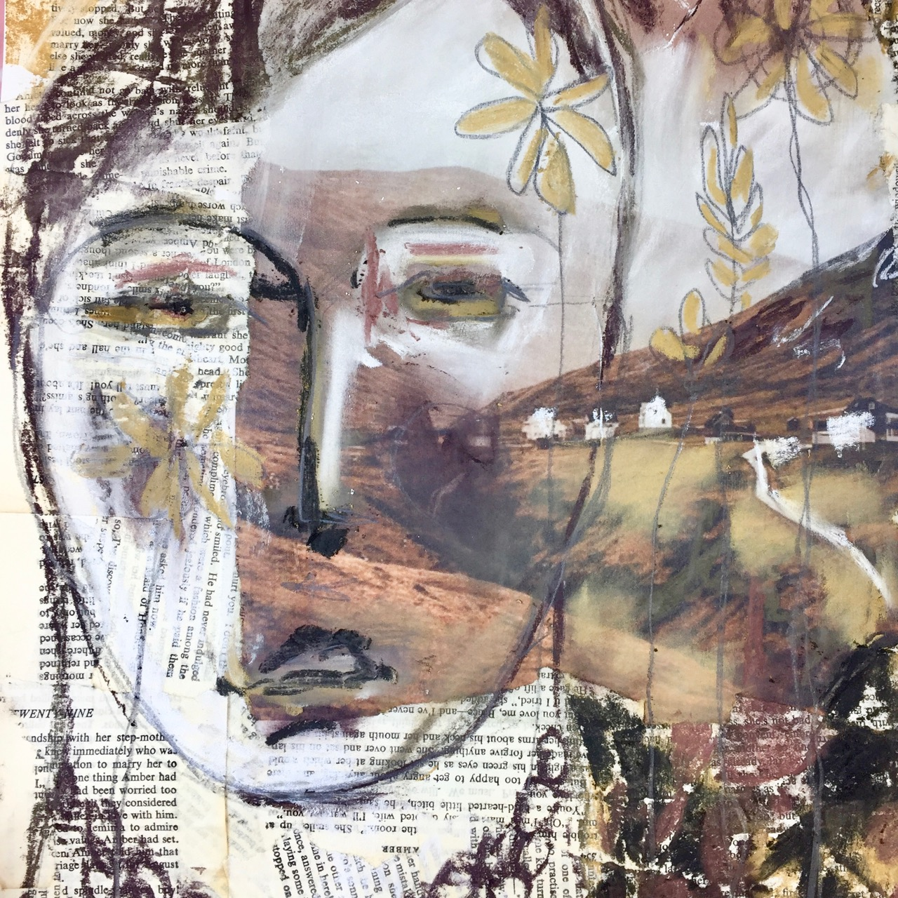 free class - Mixed Media Collage Portrait