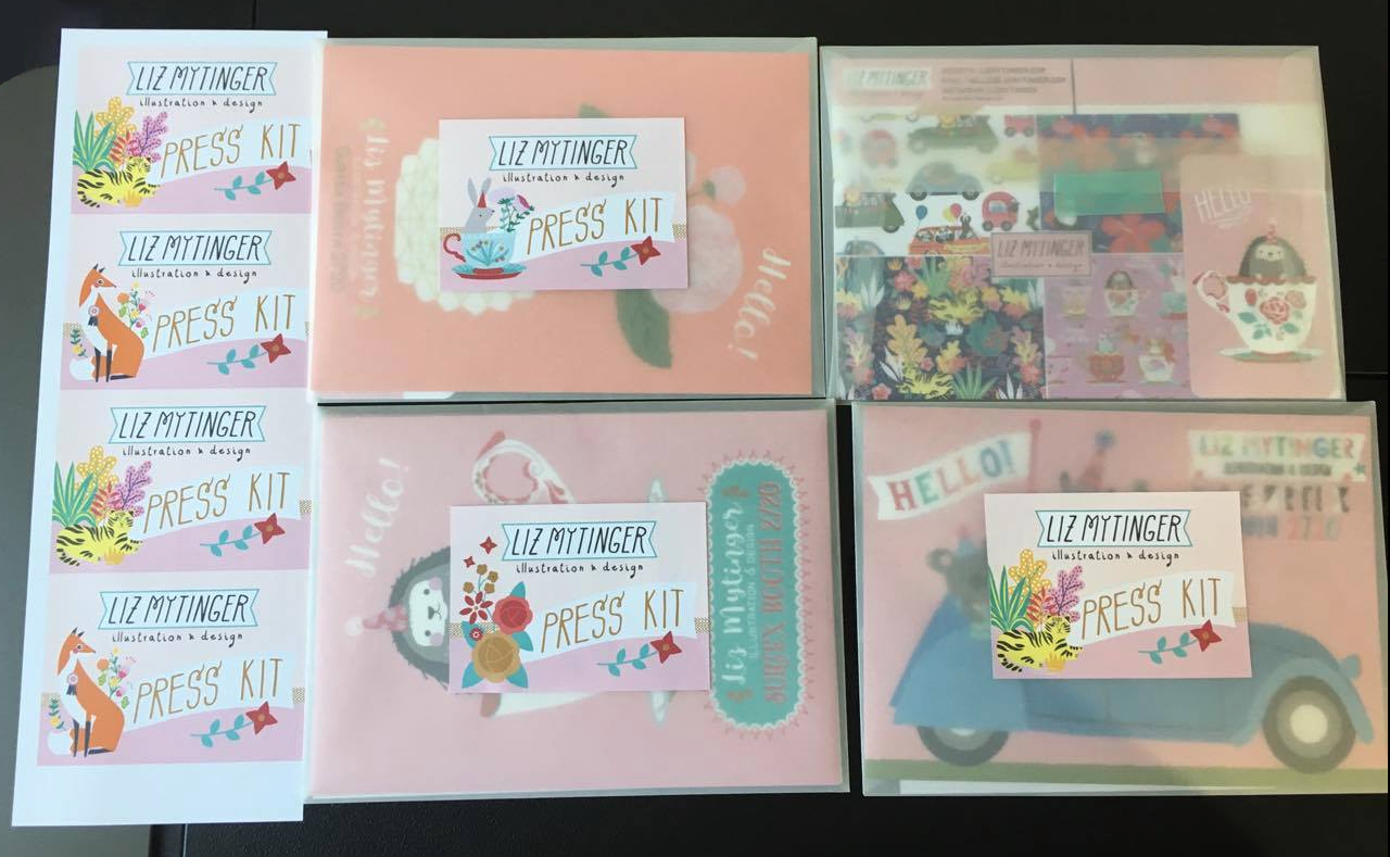 """Press kits: vellum envelope, postcard, """"about me"""" flyer,and self printed """"press kit"""" stickers"""