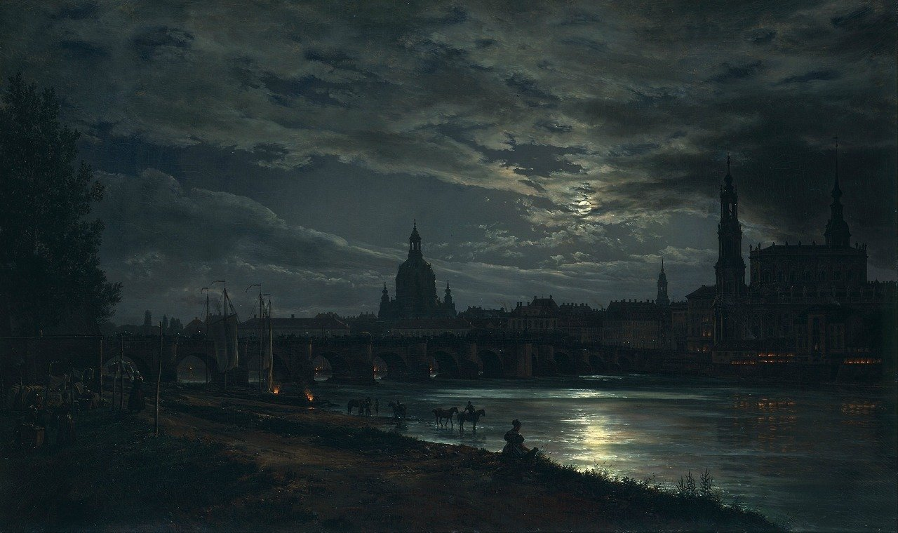 Johan Christian Dahl (1788-1857), View of Dresden by Moonlight. Oil on canvas, 78 x 130 cm.