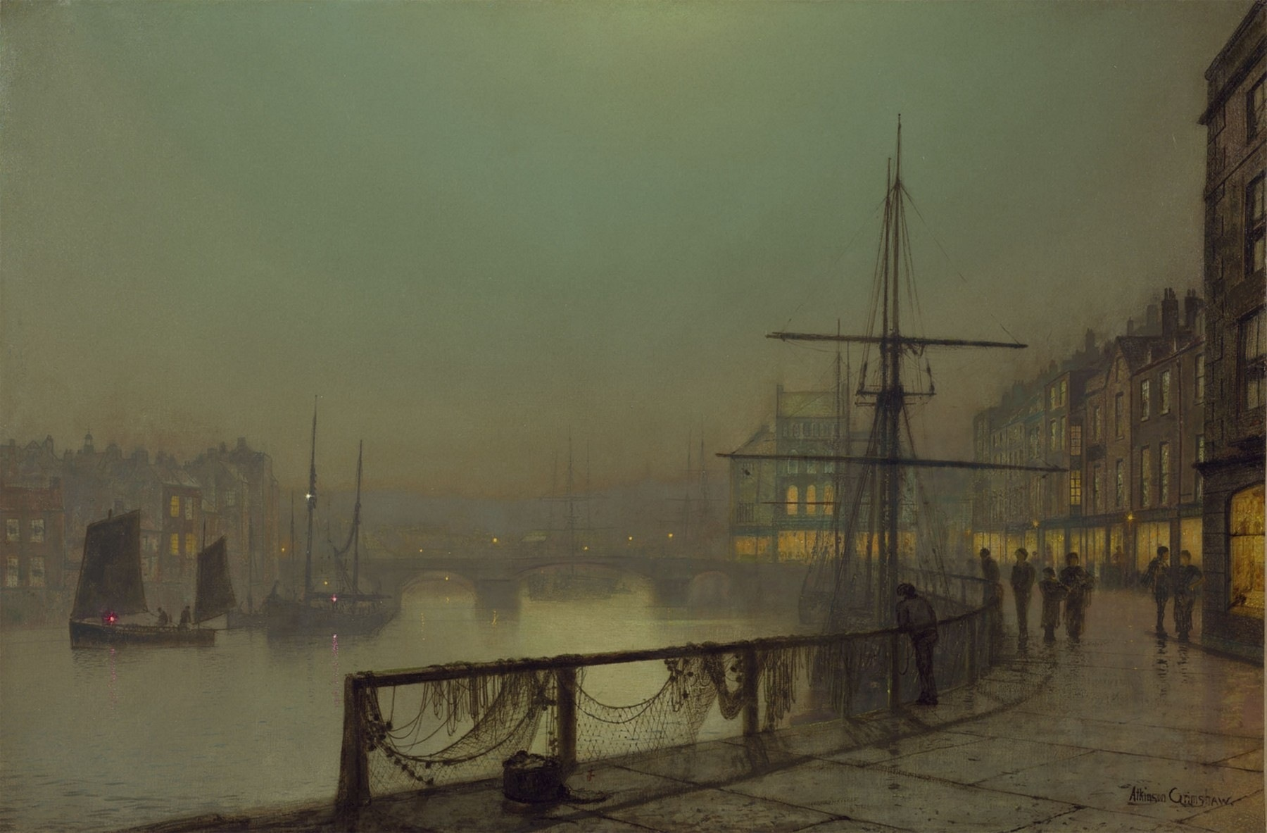 John Atkinson Grimshaw (British, 1836–1893), Whitby, oil on canvas, 61 x 91 cm.