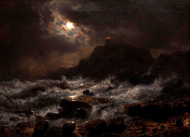 Norwegian Coast by Moonlight, 1848 - Andreas Achenbach