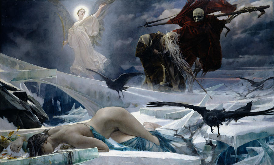 Ahasuerus at the End of the World by Adolf Hirémy-Hirschl, 1888; Italy, Symbolism, mythological painting, oil, 139.7 x 228.6 cm