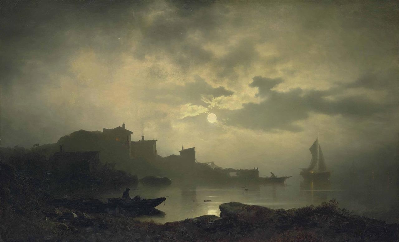 Sophus Jacobsen (Norwegian, 1833-1912) | Moonlit Bay