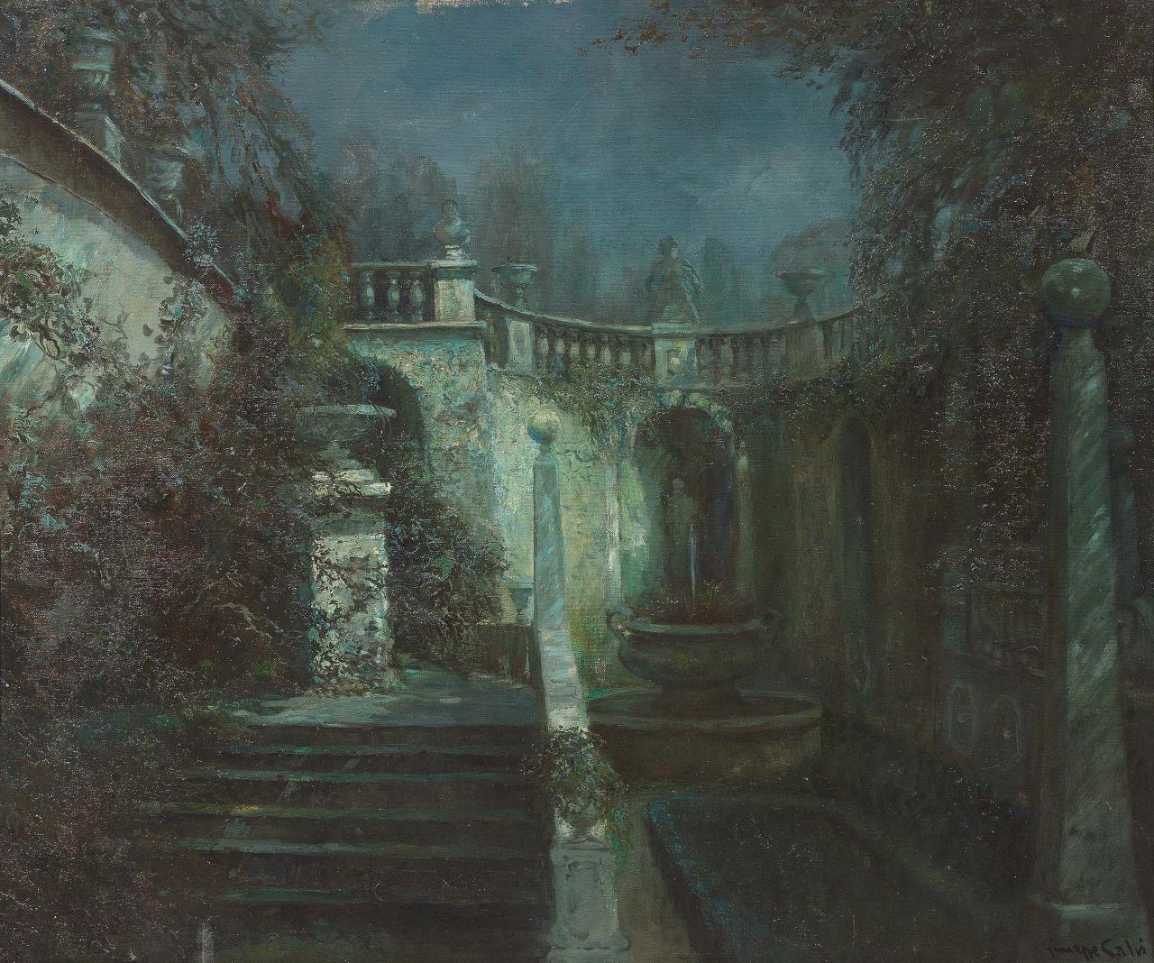 Giuseppe Calvi (Italian, 1895–1983), Plenilunio, oil on canvas, 100 x 120 cm.