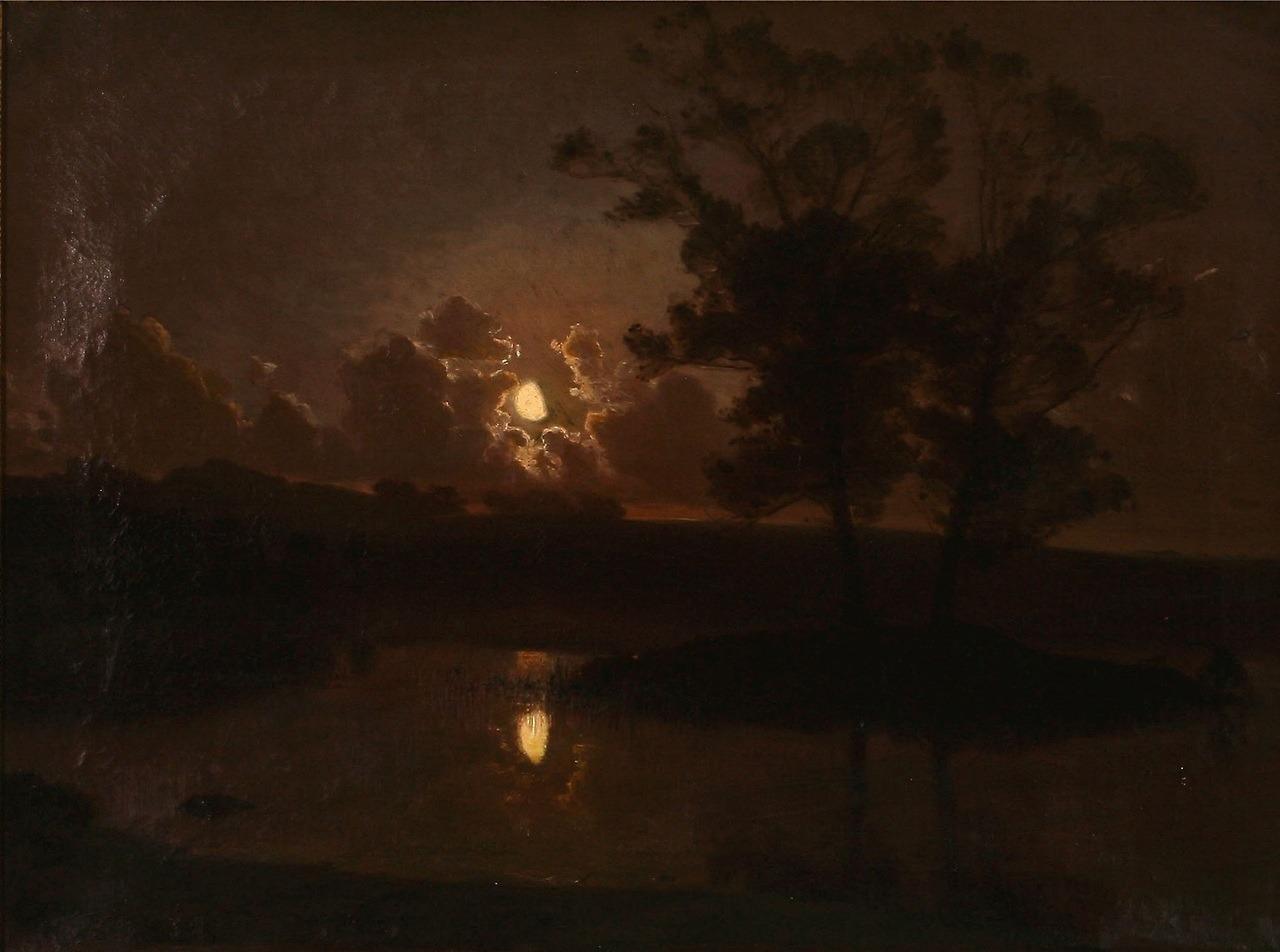 """August Jerndorff (1846–1906), """"Høstaften ved Hjortekæret, Jægersborg Dyrehave, Maaneskin,"""" April 1888, oil on canvas, 58 × 79 cm"""