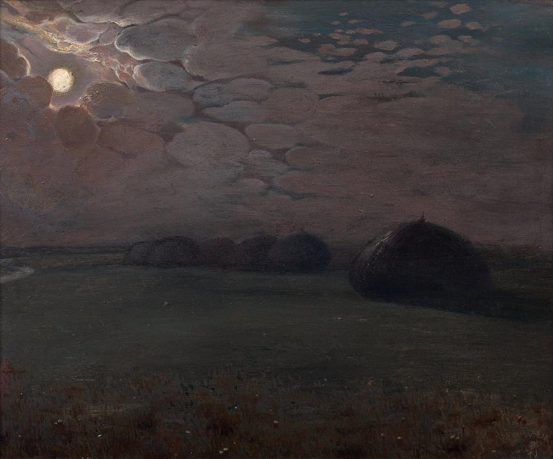 William Degouve de Nuncques (Belgian, 1867-1935), Meules dans un champ au clair de lune [Haystacks in a field by moonlight]. Oil on canvas mounted on panel, 39 x 47 cm.