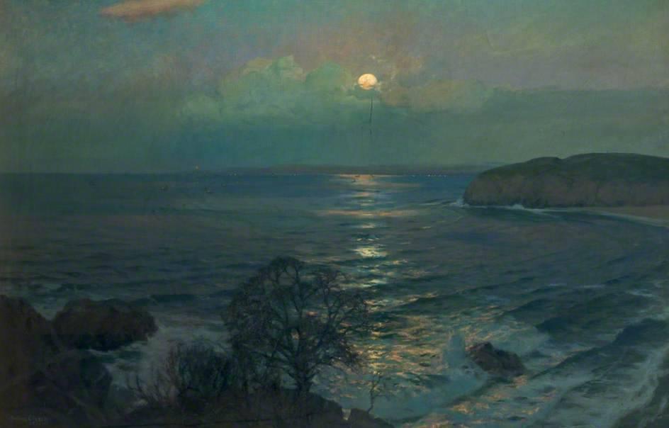 "Albert Julius Olsson, ""Rising Moon, St Ives Bay, Cornwall"""