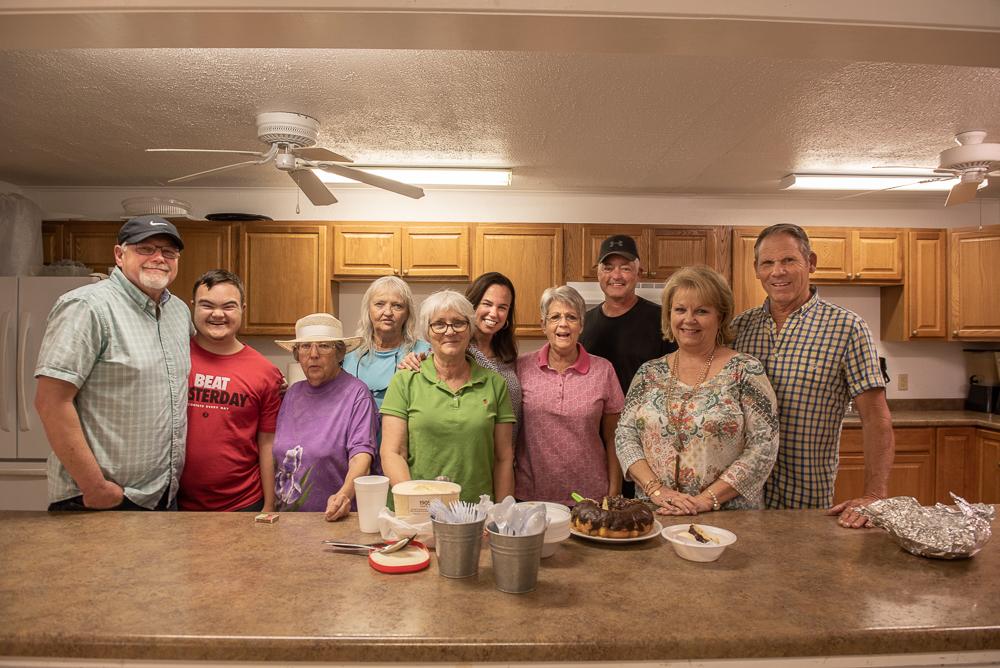 Wed nite bible study group having cake for Liz's birthday!