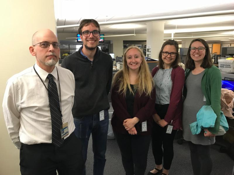 From left:  Journal Sentinel  reporter Mark Johnson with  Daily Cardinal  staffers Andrew Bahl, Madeline Heim, Sammy Gibbons and Lulu de Vogel at the  Milwaukee Journal Sentinel.