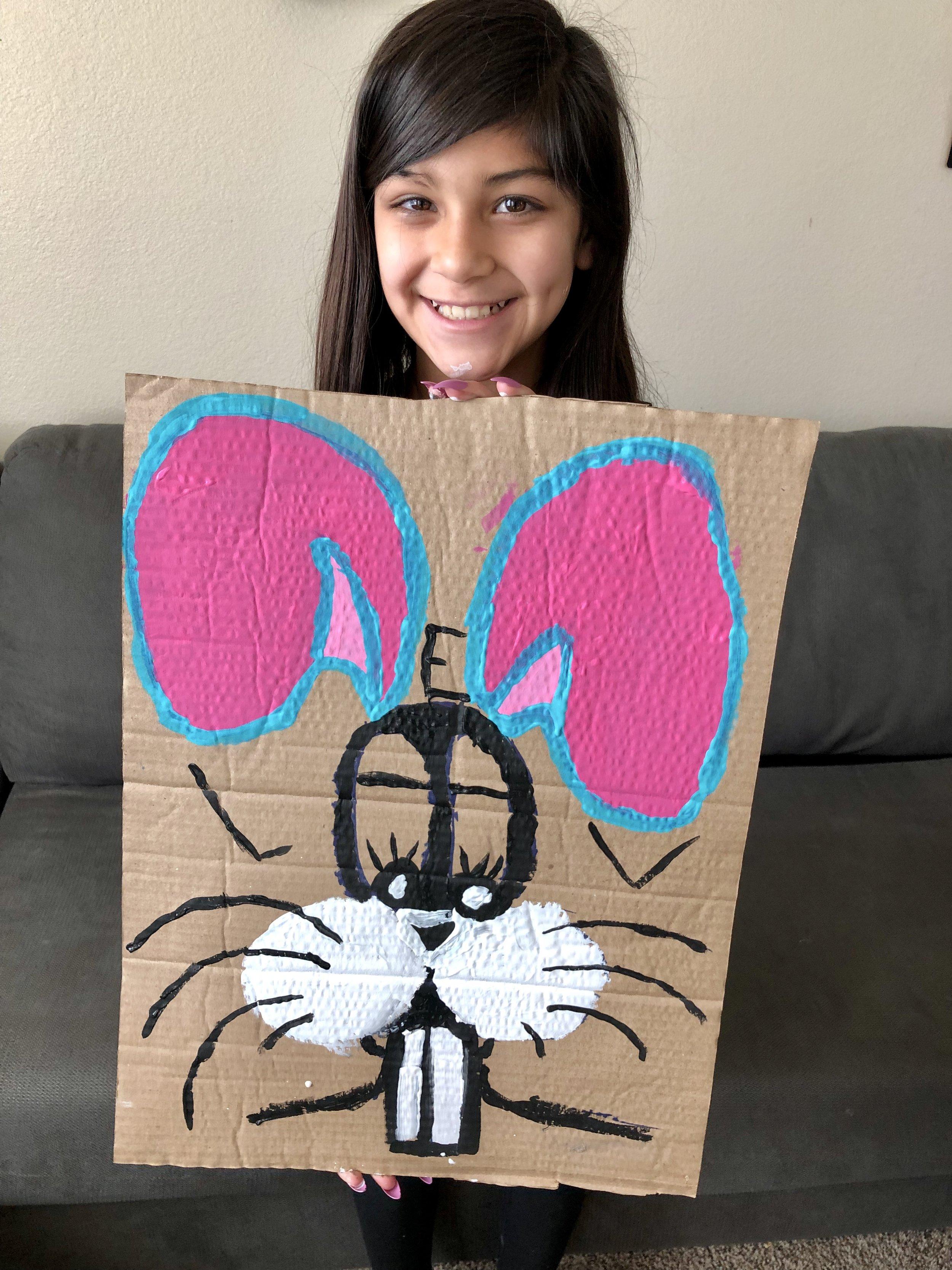Dave drew his signature rabbit for Kasie's daughter.