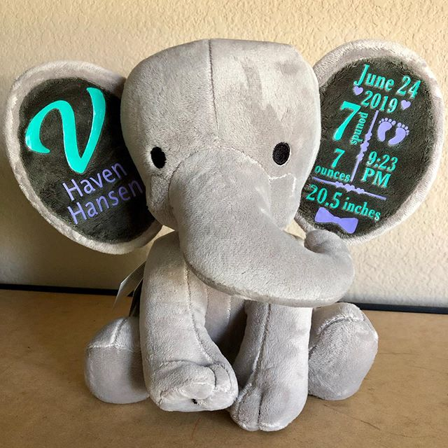 Another adorable personalized elephant is on its way! Link in bio to our shop to order #personalizedgifts #babyshowergifts #paradisepaintpartiesgifts #giftstoorder #babygifts #personalized #elephant #newborngifts
