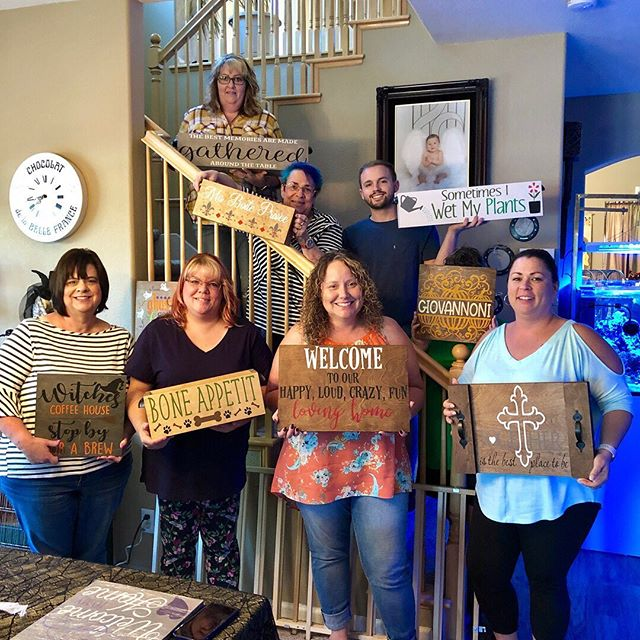 Another fun party with Rhonda and her friends and family! Let's get crafty together! You too can host a paint party with your friends! DM me or visit our website PARADISEPAINTPARTIES.COM for more information. #paradisepaintparties #paradisepaintpartiesgifts #woodsign #paintparty #girlsnight #centralvalley #brentwood #livermore #pleasanton #modesto #stockton #tracy #northerncalifornia #diyparty #woodsignpaintparty #paintclass #artparty #letspaint #diydecor #wooddecor #sipandpaint #holidayparty #corporateevents #privateevents #privateparties #woodwork #centralvalley #childrenparties #christmasparty #officeparty