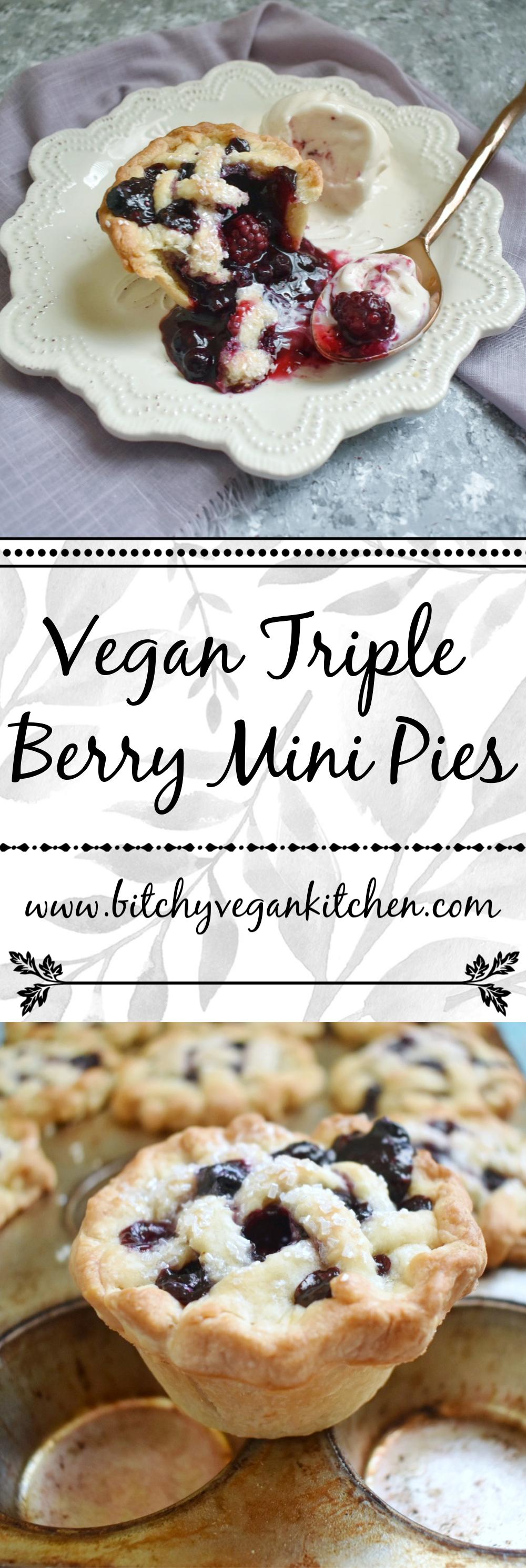 Vegan Triple Berry Mini Pies - The Bitchy Baker