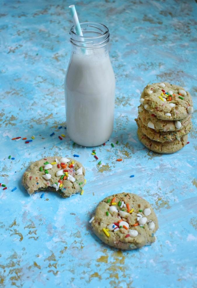Vegan Birthday Cake Cookies - The Bitchy Baker