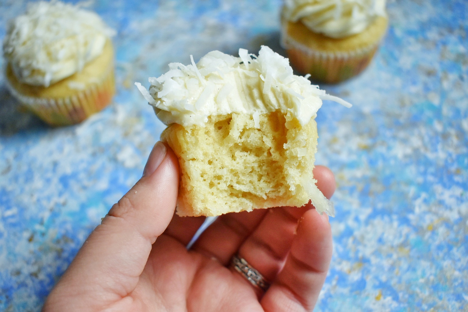 These ultra-fluffy vegan coconut cupcakes are light as air and packed with coconut flavor, but made with simple and easy-to-find ingredients.