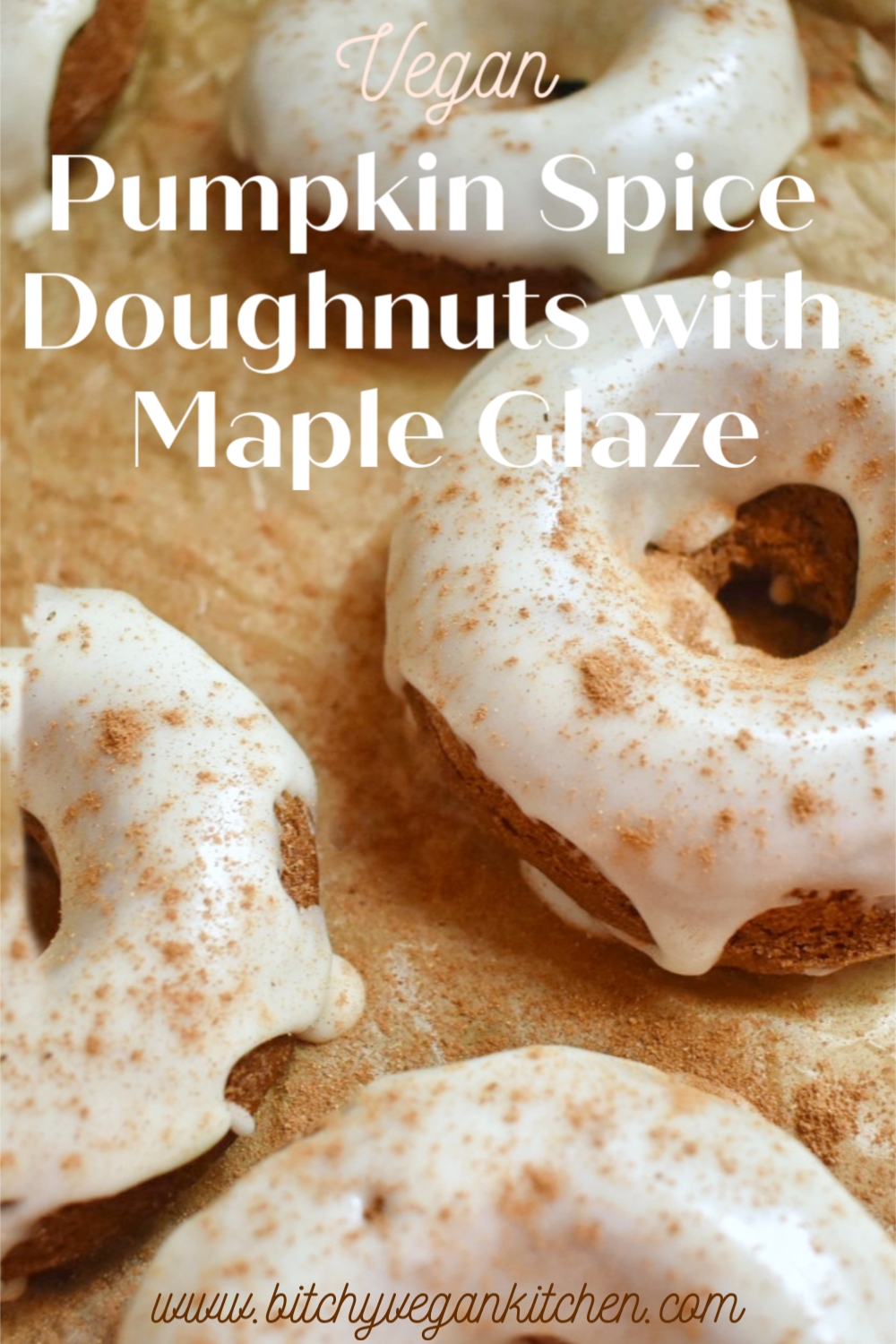 Vegan Pumpkin Spice Doughnuts with Maple Glaze - The Bitchy Baker