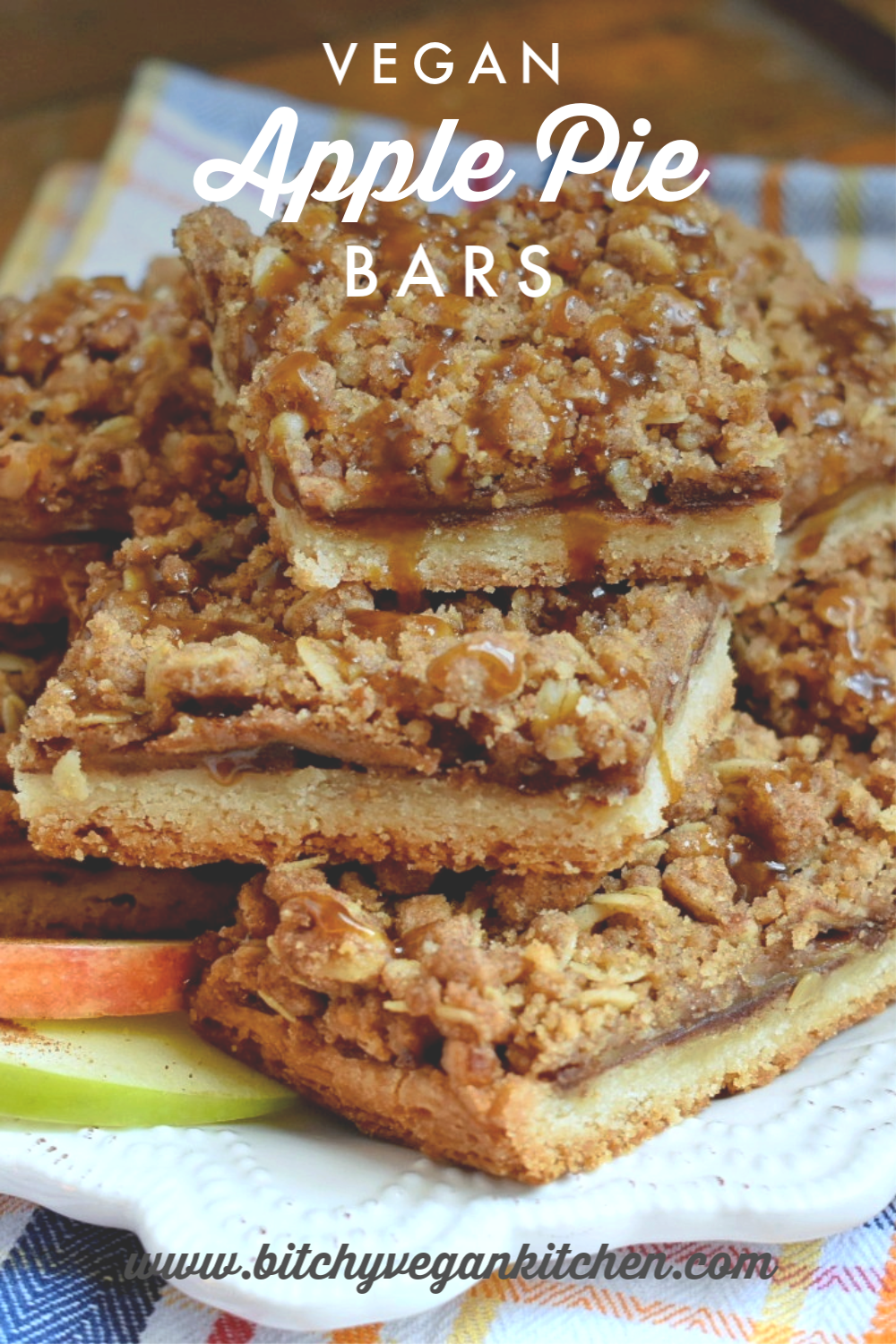 Vegan Apple Pie Crumble Bars - The Bitchy Baker