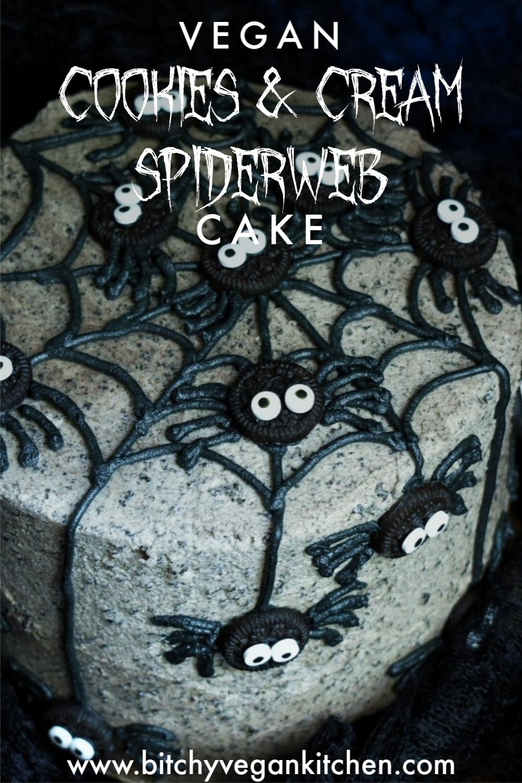 Vegan Cookies and Cream Spiderweb Cake - The Bitchy Baker