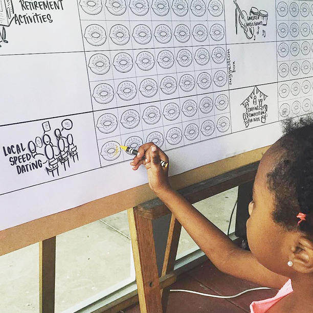 COMMUNITY ACTIVITIES -  At the start­ of our community engagement, we loved how this cute 6 year old Sudanese girl is the first to vote for community activities by colouring donuts and she's opted for local speed dating. Her mother said she should wait until she's 18.