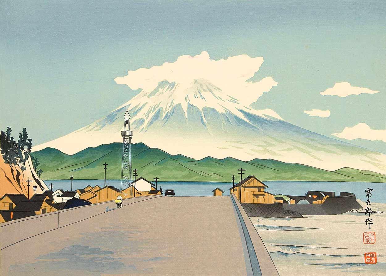 ©  Artelino , Thirty-Six Views of Mount Fuji - From a Road, Woodblock Print by Tokuriki Tomikichiro