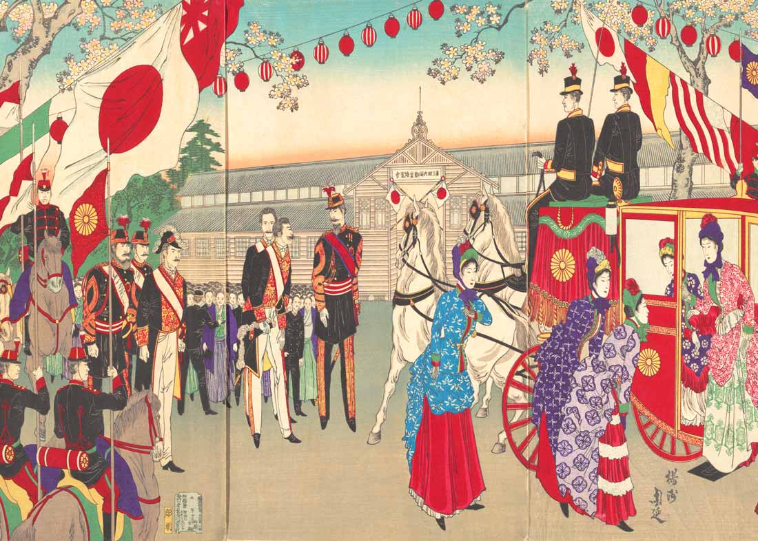 Visit of the Empress to the 3rd Industrial Exhibition in Ueno Park, 1889, Woodblock print by Yoshu Chikanobu
