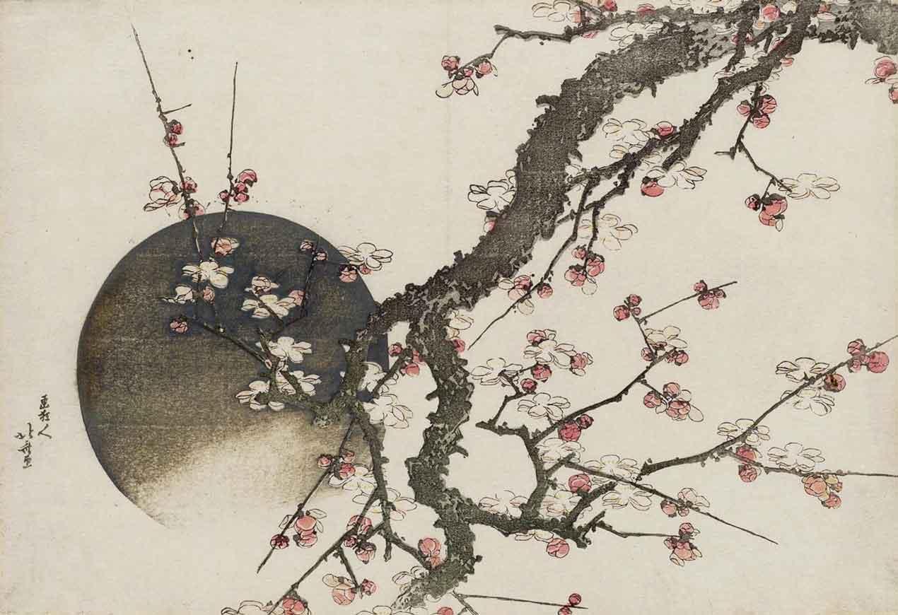 Plum Blossom and the Moon, Woodblock Print by Katsushika Hokusai, 1803