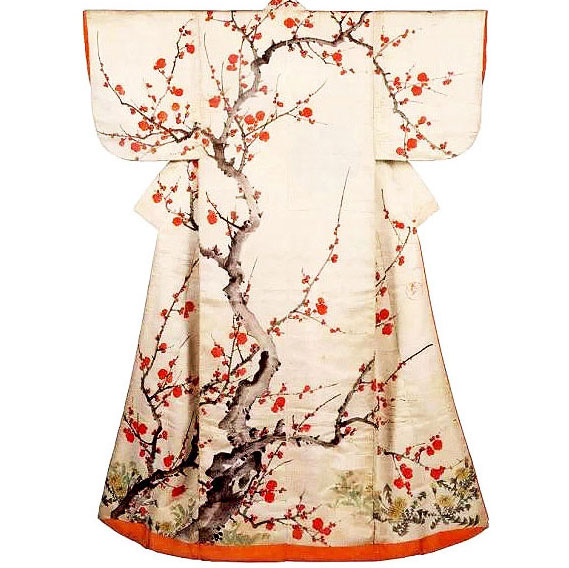 © Flowering Plum Blossom Kimono by Sakai Hoitsu