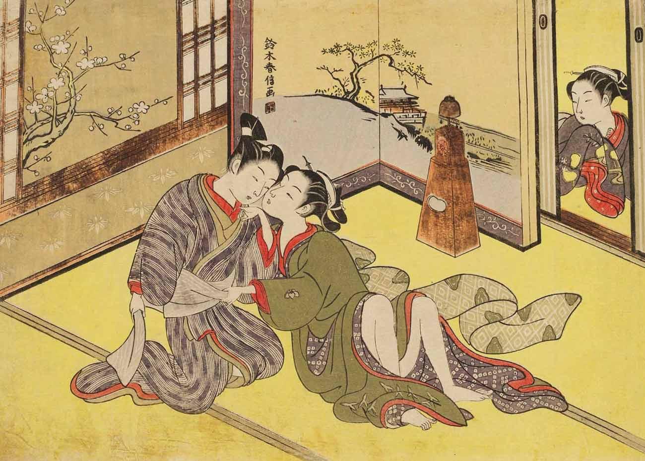 Young Lovers and a Clock, Woodblock Print by Suzuki Harunobu