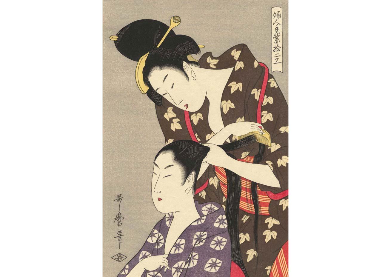 Hairdressing, Woodblock Print by Kitagawa Utamaro