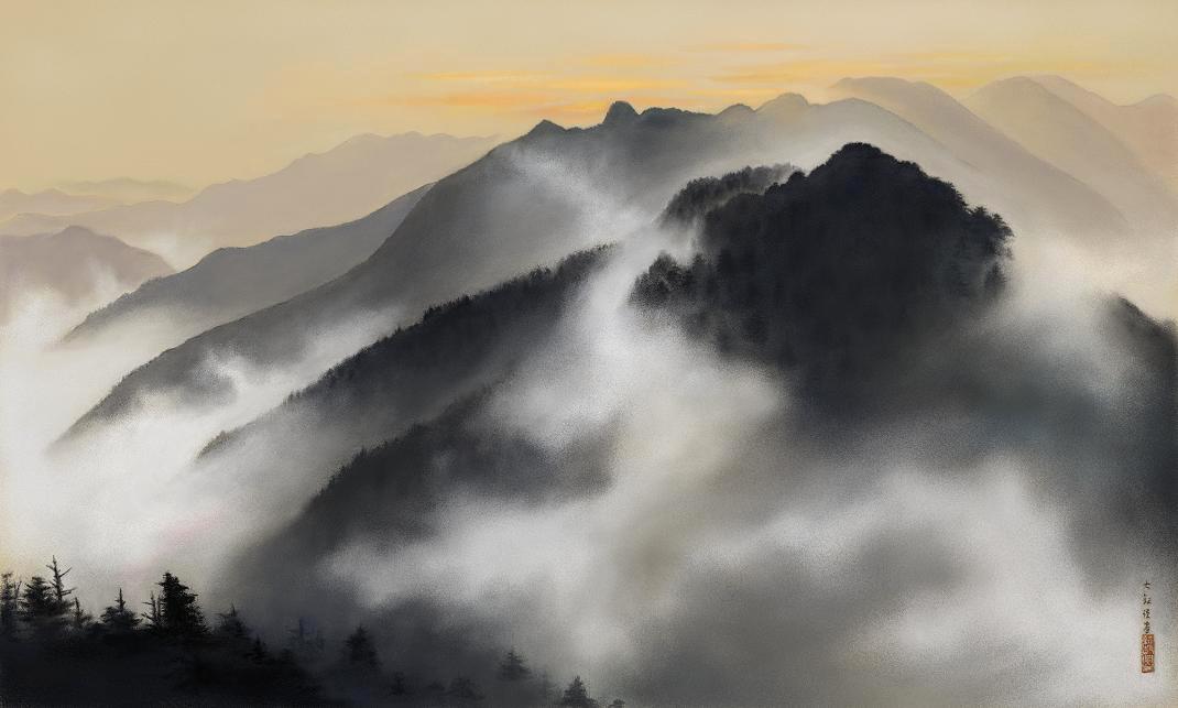 Taikan Yokoyama, Spring Dawn over the Holy Mountain of Chichibu, Silk, 1928