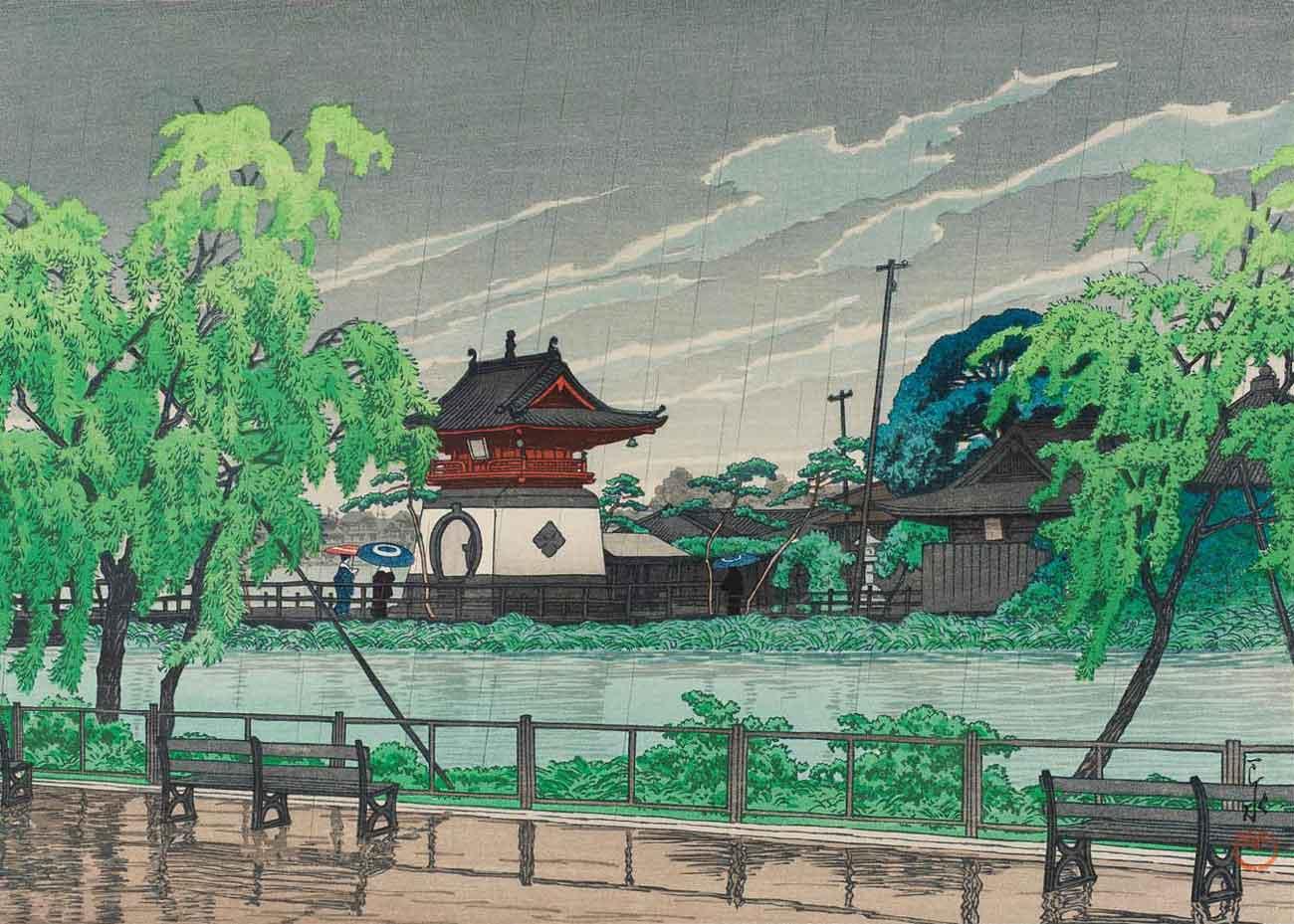 © Kawase Hasui, Shinobazu Pond in Rain, 1926 Woodblock Print, from the  Museum of Fine Arts, Boston .